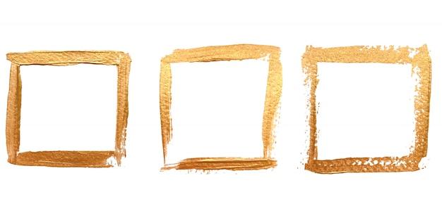 Zestaw kwadratowych złotych ramek