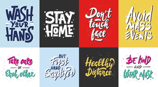 Zestaw kwarantanny wektor ręcznie rysowane unikalny projekt typografii dla plakatów odręczny napis
