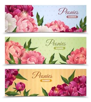 Zestaw Kwiatów Banery Darmowych Wektorów