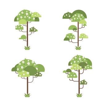 Zestaw kwiatów drzew kwiatowych zielona zieleń botaniczna rośliny ilustracja kwiatowy kolekcja