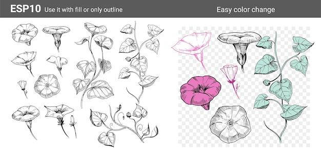 Zestaw Kwiatów I Gałęzi Ilustracji Wektorowych Clipart Grupa Obiektów Do Projektowania Premium Wektorów