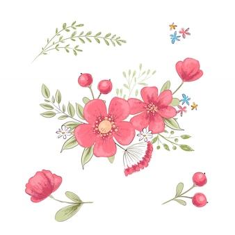 Zestaw kwiatów i motyli. rysunek odręczny. ilustracji wektorowych