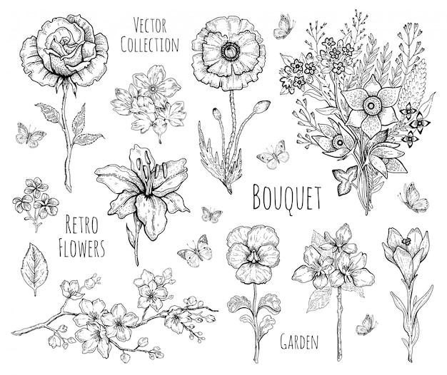 Zestaw kwiatów róża, mak, lilia, kwiat wiśni. kwiecista grafika, szkic ilustracji roślin. czarno-biała sztuka linii vintage. ręcznie rysowane wiosenne lub letnie kwiaty.