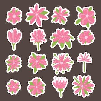 Zestaw kwiatów wektor różowy kolor o różnych kształtach z zielonymi płatkami. kwiaty do dekoracji kartek dziecięcych, banerów, nadruku na tkaninie, naklejek.