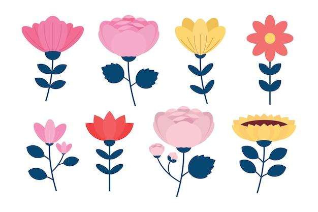 Zestaw kwiatów z gałęziami i liściem