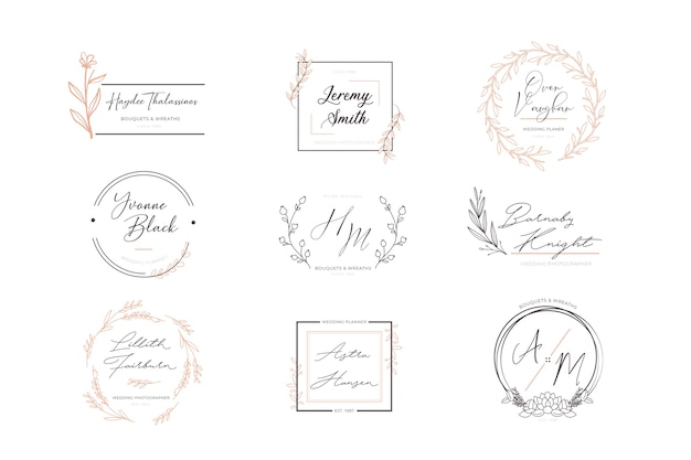 Zestaw kwiatowy eleganckie logo