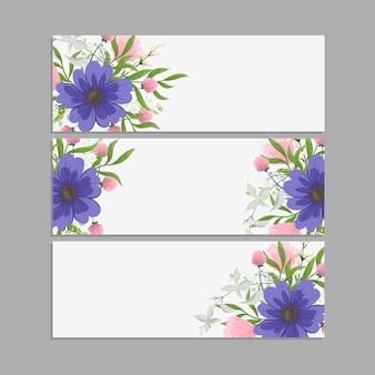 Zestaw kwiatowy ramki z kolorowy kwiat.