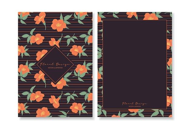 Zestaw kwiatowy szablon karty z pozdrowieniami.