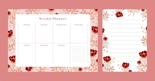 Zestaw kwiatowy terminarz tygodniowy i szablon notatnika listy rzeczy do zrobienia