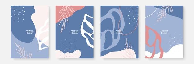 Zestaw kwiatowy tło. abstrakcyjne kreatywne tła w minimalistycznym modnym stylu z miejscem na kopię dla szablonów projektu z życzeniami lub okładki. różowy niebieski pastelowy szablon mediów społecznościowych