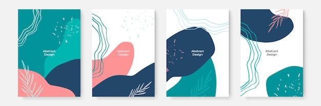Zestaw kwiatowy tło. abstrakcyjne kreatywne tła w minimalistycznym modnym stylu z miejscem na kopię dla szablonów projektu z życzeniami lub okładki. różowy zielony ciemnoniebieski szablon mediów społecznościowych