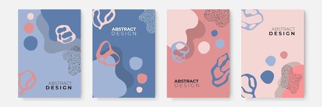 Zestaw kwiatowy tło. abstrakcyjne kreatywne tła w minimalistycznym modnym stylu z miejscem na kopię dla szablonów projektu z życzeniami lub okładki. szablon mediów społecznościowych w kolorze różowym, toskowym i niebieskim