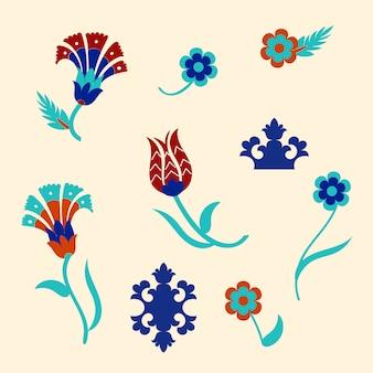 Zestaw kwiatowych detali z tureckimi motywami. .