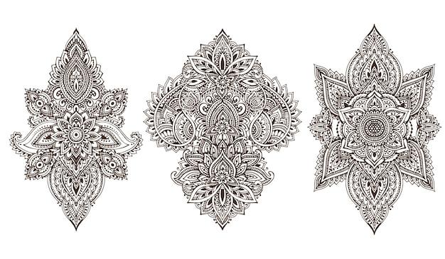 Zestaw kwiatowych elementów henny opartych na tradycyjnych azjatyckich ornamentach. kolekcja paisley mehndi doodles