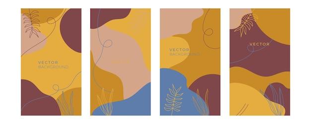 Zestaw kwiatowych uniwersalnych szablonów artystycznych z niebieskim złotym pastelowym kolorem. dobre dla kart okolicznościowych, zaproszeń, ulotek i innych projektów graficznych. kwadratowa kwiecista kartka z życzeniami