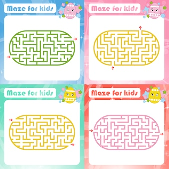Zestaw labiryntów. gra dla dzieci. puzzle dla dzieci.