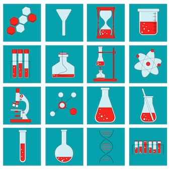 Zestaw laboratorium chemicznego i schematycznych ikon przedstawiających różne eksperymenty szklane
