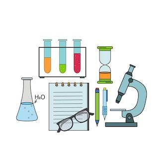 Zestaw laboratoryjny naczyń chemicznych, ilustracja kolor wektor.