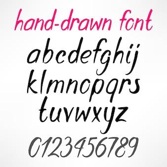 Zestaw łacińskich ręcznie rysowanych liter i cyfr