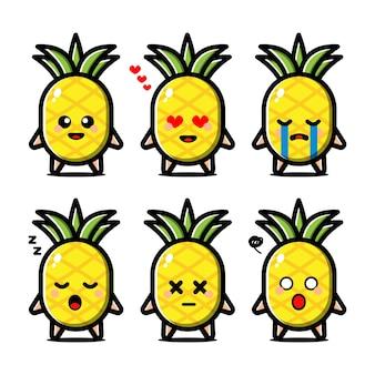 Zestaw ładny ananas z postacią z kreskówki wyrażenie