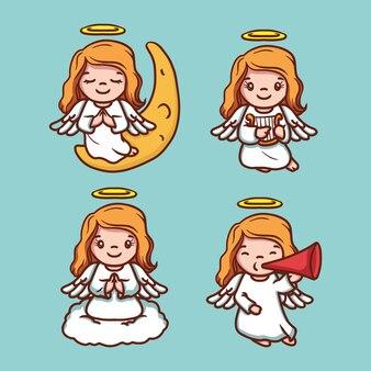 Zestaw ładny anioł bożego narodzenia