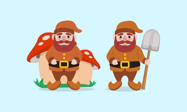 Zestaw ładny bałwan boże narodzenie maskotka ilustracja projekt logo