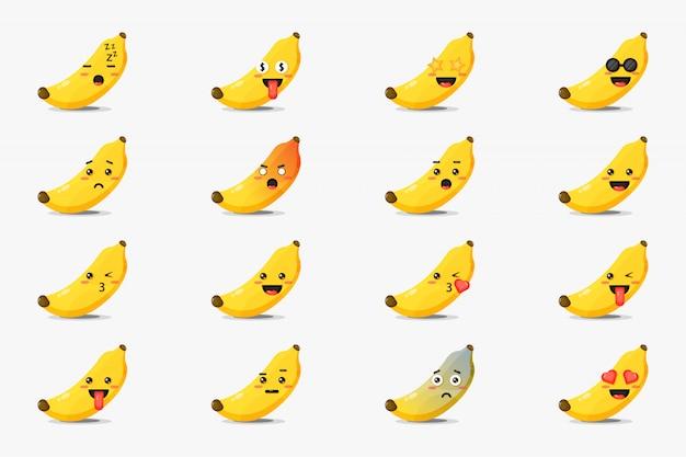 Zestaw ładny banan z emotikonami
