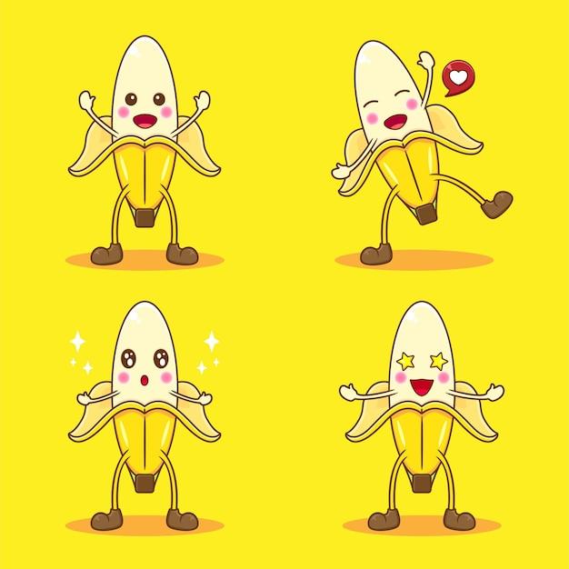Zestaw ładny banan z innym wyrazem