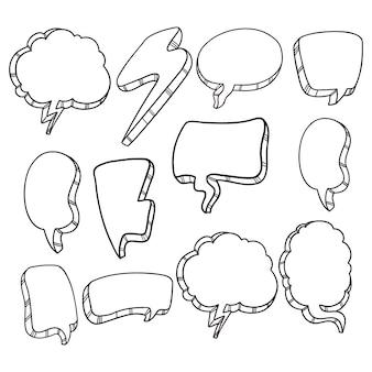 Zestaw ładny bańki czat z doodle lub ręcznie rysowane stylu