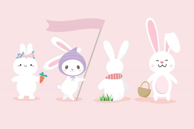 Zestaw ładny biały królik ręcznie rysowane stylu.