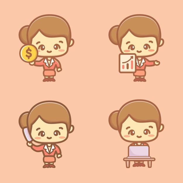 Zestaw ładny bizneswoman, pracownik biurowy w różnych sytuacjach. ilustracja postaci z kreskówek.