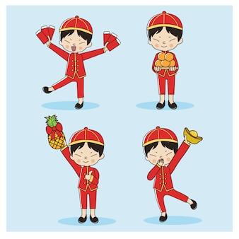Zestaw ładny chiński chłopiec w tradycyjny chiński strój. szczęśliwego nowego chińskiego roku.