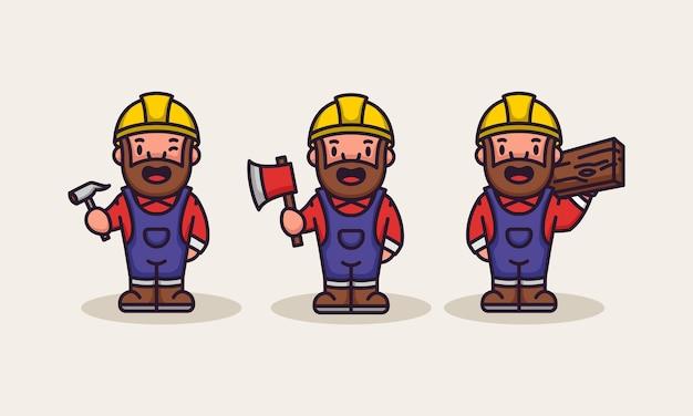 Zestaw ładny cieśla budowniczy robotnik