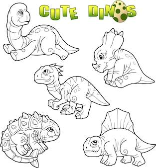 Zestaw ładny dinozaurów