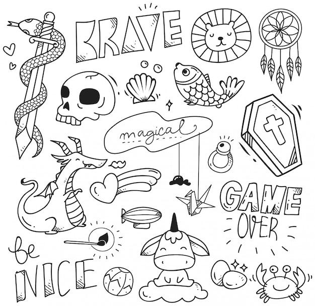 Zestaw ładny doodle do druku i wzór