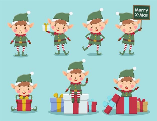 Zestaw ładny elf świąteczny robi różne wypowiedzi z obecną ilustracją pudełka
