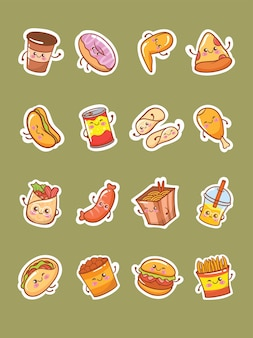 Zestaw ładny fast food ikona naklejki postaci z kreskówek ilustracji