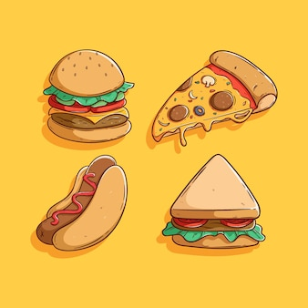 Zestaw ładny fast food z kolorowym stylem rysowania dłoni