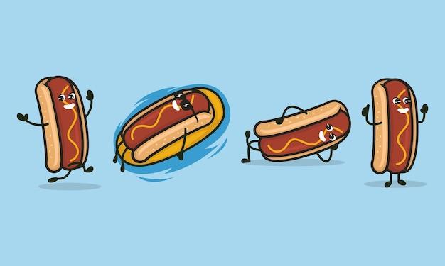 Zestaw ładny hot dog maskotka ilustracja logo projektu