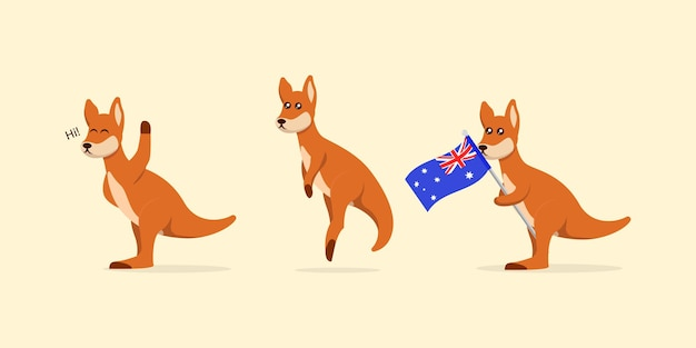 Zestaw ładny ilustracja projekt logo maskotki kangura