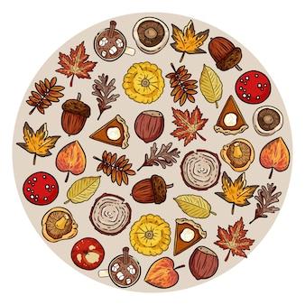 Zestaw ładny jesień elementów w kole. liście, liść, czekolada, ciasto, jabłko