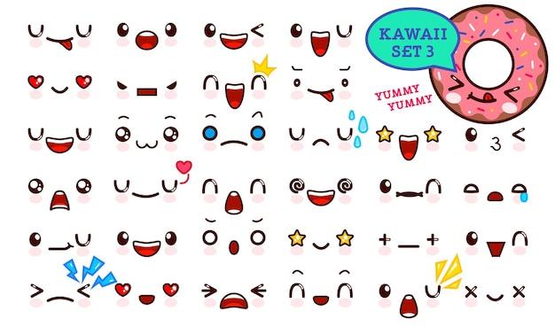 Zestaw ładny kawaii emotikon twarz i słodkie ikony pączka