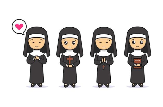Zestaw ładny kawaii zakonnica chrześcijańskiej maskotki projektowej ilustracji
