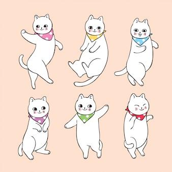 Zestaw ładny kot kreskówka taniec.