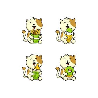 Zestaw ładny kot kreskówka trzymając jedzenie i picie wektor swobodny