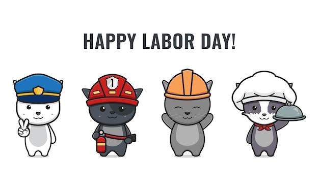 Zestaw ładny kot świętować dzień pracy kreskówka ikona wektor ilustracjaprojekt na białym tle. płaski styl kreskówek.