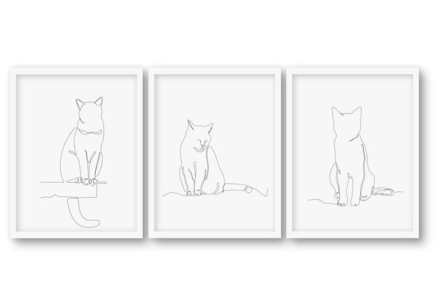 Zestaw ładny kot w jednej linii