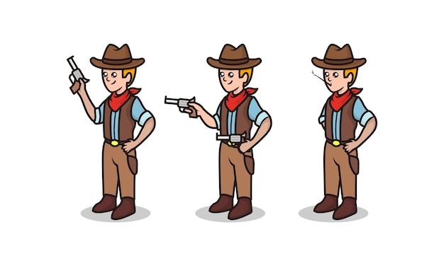Zestaw ładny kowboj z dzikiego zachodu szeryfa maskotka ilustracja projektu
