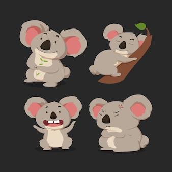 Zestaw ładny kreskówka koala