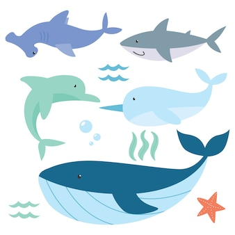 Zestaw ładny kreskówka zwierząt serii oceanu